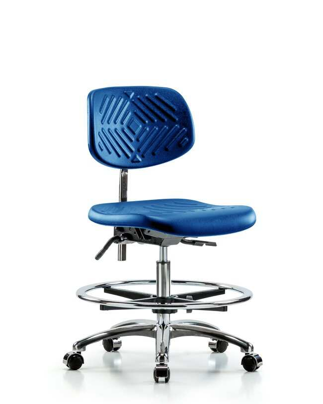 Fisherbrand Medium Bench Height Class 10 Blue Polyurethane Clean Room Chair,