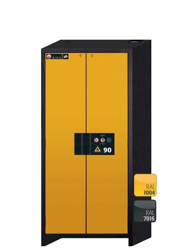 Asecos™Q-CLASSIC-90 Two-Door Yellow Safety Storage Cabinets 6x 60 kg/19 L drawers Asecos™Q-CLASSIC-90 Two-Door Yellow Safety Storage Cabinets
