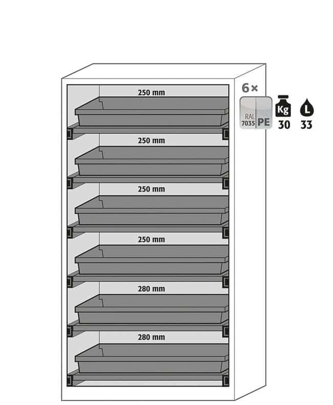 Asecos™CS-CLASSIC-G Two-Door Four-Window Safety Chemical Storage Cabinets, Light Gray 6x 30 kg/33 L shelves Asecos™CS-CLASSIC-G Two-Door Four-Window Safety Chemical Storage Cabinets, Light Gray