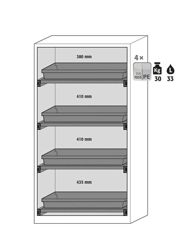 Asecos™CS-Phoenix Safety Storage Cabinets 4x 30 kg/33 L shelves with sump Combination Hazards Safety Storage Cabinets