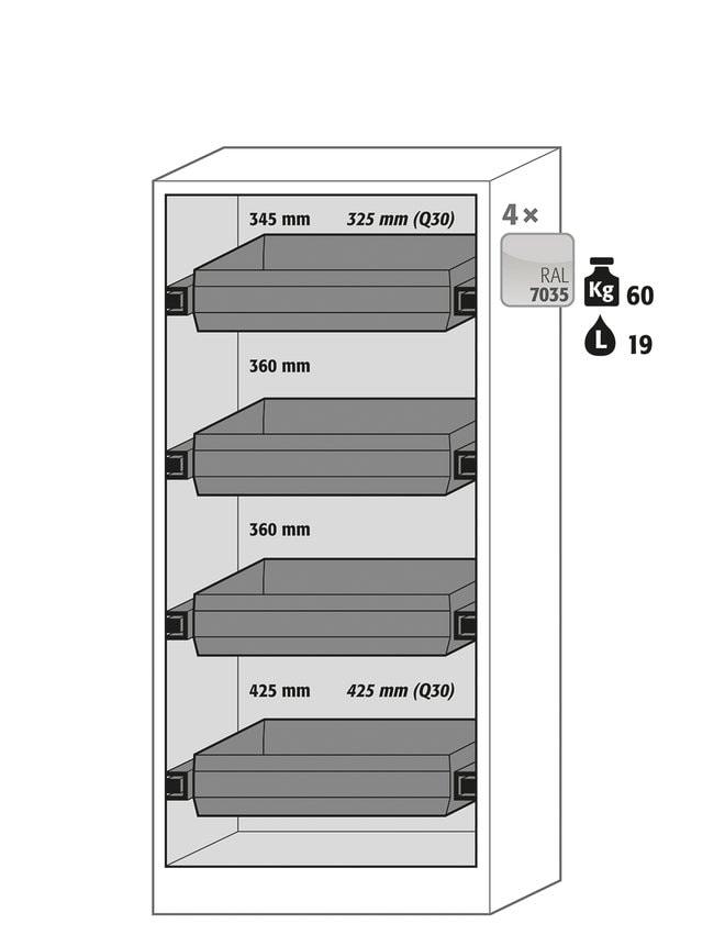 Asecos™Armoires de stockage de sécurité gris clair à uneporte Q-CLASSIC-30 4étagères en tôle d'acier de 60kg/ 19L Asecos™Armoires de stockage de sécurité gris clair à uneporte Q-CLASSIC-30