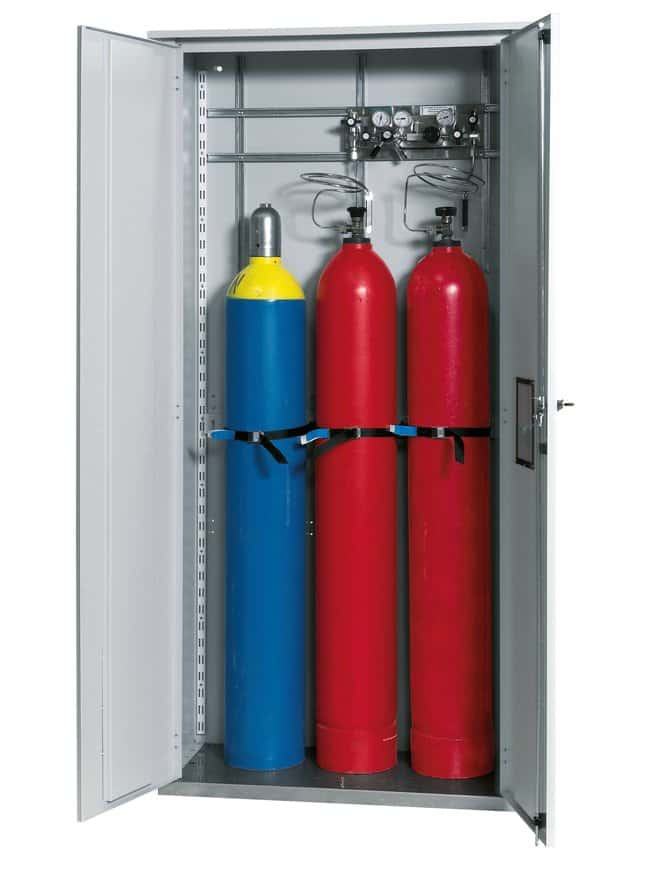 asecos™ Gas Cylinder Cabinet G-OD Description: Without window, No. of Doors: 2, Includes: Standard interior equipment for 3 x 50 litre gas cylinders asecos™ Gas Cylinder Cabinet G-OD