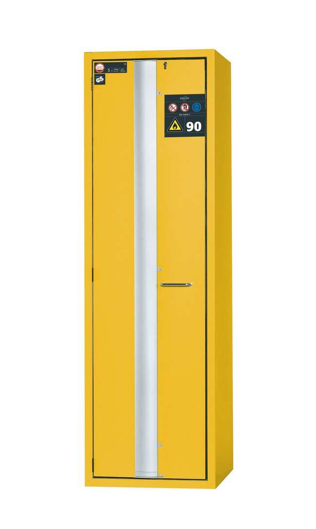 asecos™Typ 90 Sicherheitsschrank S-PHOENIX-90 Tiefe: 616,00mm; 3Ablageschalen, 1Lochblecheinsatz (350mm), 1Bodenauffangwanne, gelb asecos™Typ 90 Sicherheitsschrank S-PHOENIX-90