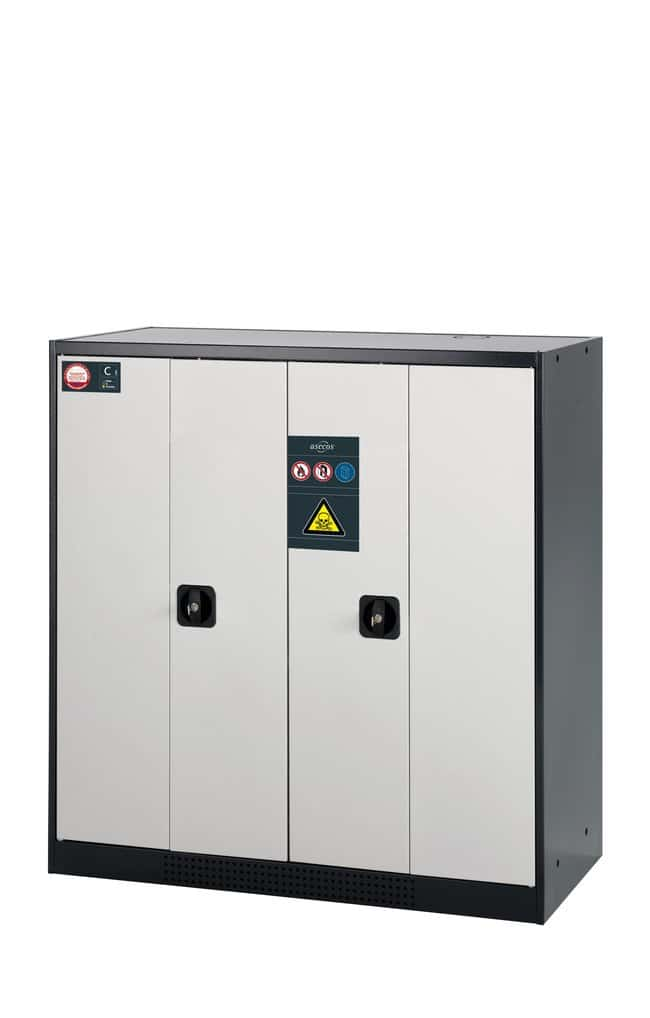 asecos™Cabinet for Chemicals CS-PHOENIX Description: Medium, Includes: 2xshelf, 1xperforated insert, 1xbottom collecting sump (sheet steel powder-coated), Color: Gray asecos™Cabinet for Chemicals CS-PHOENIX