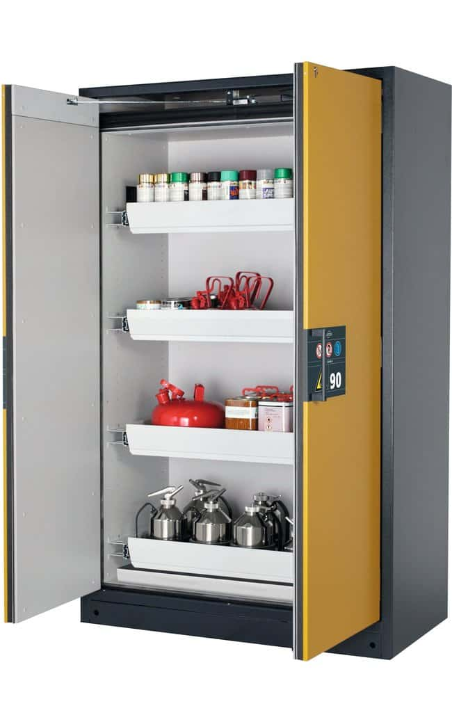 asecos™Type 90 Safety Storage Cabinet Q-PEGASUS-90 Winged Doors Includes: 4x 29 litre drawer, 1xbottom collecting sump (sheet steel powder-coated), Description: Warning yellow doors asecos™Type 90 Safety Storage Cabinet Q-PEGASUS-90 Winged Doors