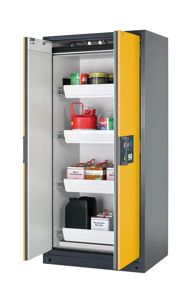 asecos™Armoire de stockage de sécurité de type90 Q-PEGASUS-90 à portes à battant Inclut: 4tiroirs de 19litres, 1xbac collecteur inférieur (tôle d'acier revêtue de poudre), description: Avertissement portes jaunes asecos™Armoire de stockage de sécurité de type90 Q-PEGASUS-90 à portes à battant