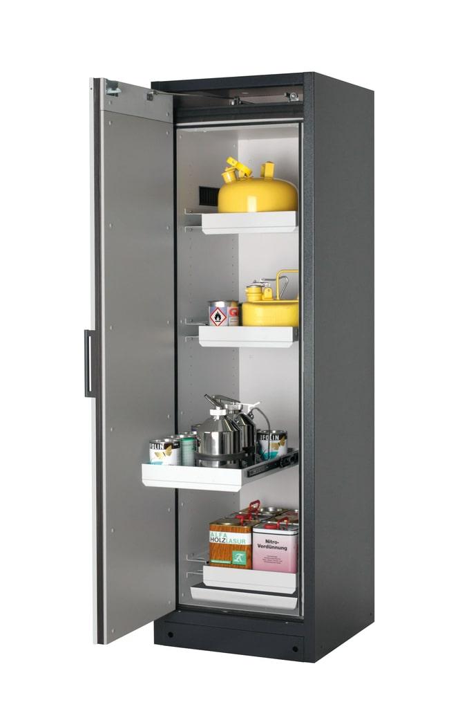 asecos™Type 90 Safety Storage Cabinet Q-PEGASUS-90 Single Door Includes: 4x5 litre drawer, 1xbottom collecting sump (sheet steel powder-coated), Door Style: Swing, Left-hinged, Description:  Light gray doors asecos™Type 90 Safety Storage Cabinet Q-PEGASUS-90 Single Door