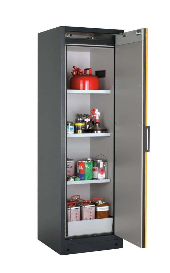 asecos™ tipo 90 armario de seguridad Q-PEGASUS-90 Includes: 3 x shelf, 1 x perforated insert, 1 x bottom collecting sump (sheet steel powder-coated), Door Style: Swing, Right-hinged, Description: Warning yellow doors asecos™ tipo 90 armario de seguridad Q-PEGASUS-90