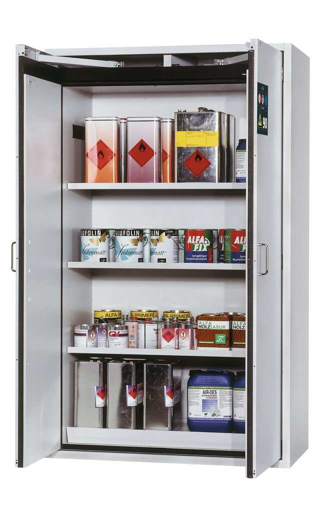 asecos™type 90 armoire de sécurité S-CLASSIC-90 3xshelf, 1xperforated insert (375 mm), 1x33 litre bottom collecting sump (sheet steel powder-coated) asecos™type 90 armoire de sécurité S-CLASSIC-90