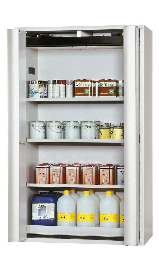asecos™Type 90 Safety Storage Cabinet S-PHOENIX-90 with 2 Doors 3xshelf, 1xperforated insert, 1xbottom collecting sump, Color: Light Gray asecos™Type 90 Safety Storage Cabinet S-PHOENIX-90 with 2 Doors