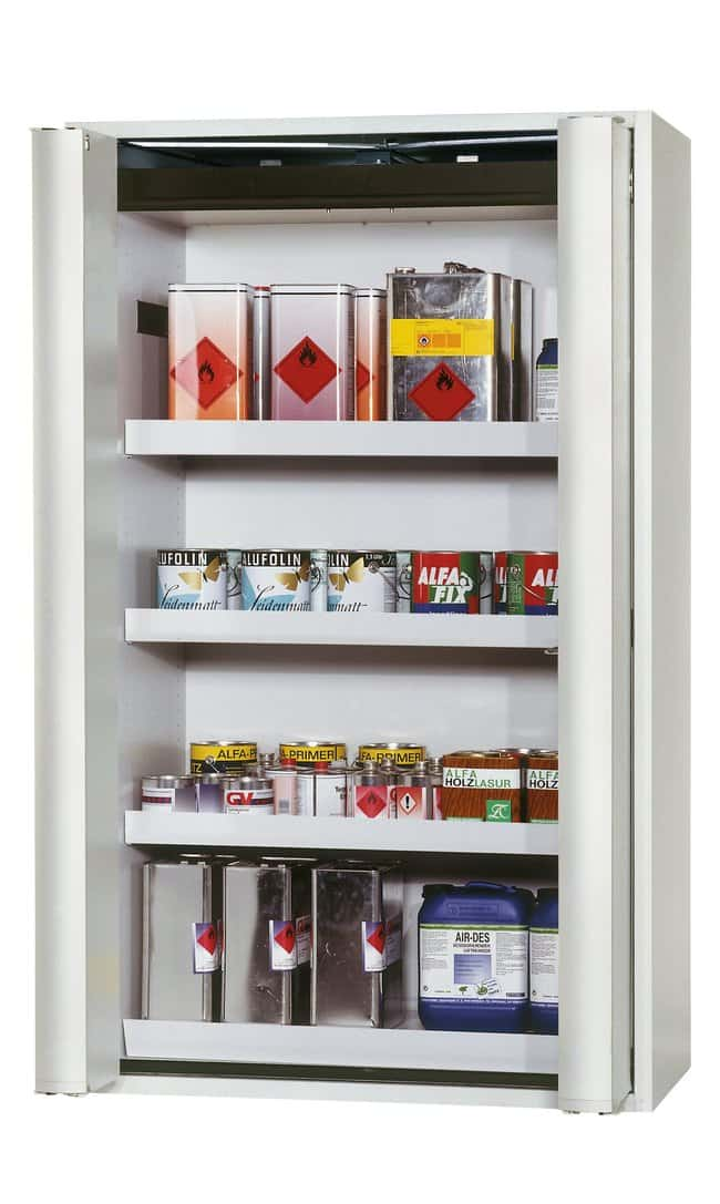 asecos™Type 90 Safety Storage Cabinet S-PHOENIX Vol.2-90 with Integrated AGT 3xtray shelf, 1xperforated insert (365 mm), 1xbottom collecting sump (sheet steel powder-coated), Color: Light Gray asecos™Type 90 Safety Storage Cabinet S-PHOENIX Vol.2-90 with Integrated AGT