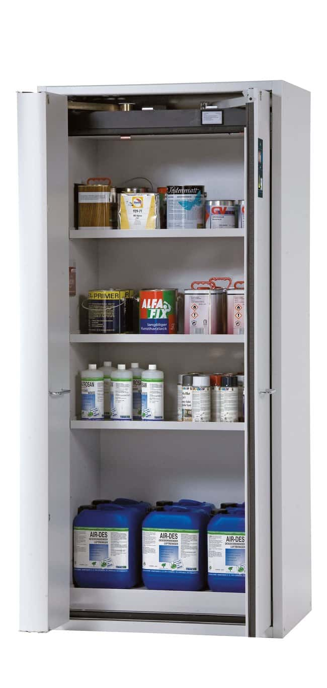 asecos™Type 90 Safety Storage Cabinet S-PHOENIX-90 with Winged/Folding Doors 3xshelf, 1xperforated insert (370 mm), 1xbottom collecting sump (sheet steel powder-coated), Color: Light Gray asecos™Type 90 Safety Storage Cabinet S-PHOENIX-90 with Winged/Folding Doors
