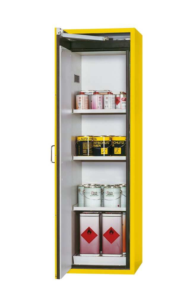 asecos™Type 90 Safety Storage Cabinet S-CLASSIC-90 with Door Open Arrest System - Left-Hinged Height: 1968.00 mm, 3xshelf, 1xperforated insert (380 mm), 1xbottom collecting sump (sheet steel powder-coated), Yellow asecos™Type 90 Safety Storage Cabinet S-CLASSIC-90 with Door Open Arrest System - Left-Hinged