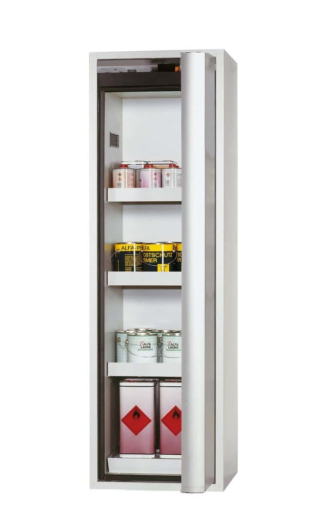 asecos™Type 90 Safety Storage Cabinet S-PHOENIX-90 Right-Hinged Depth: 616.00 mm; 3xtray shelf, 1xperforated insert, 1xbottom collecting sump, Light Gray asecos™Type 90 Safety Storage Cabinet S-PHOENIX-90 Right-Hinged