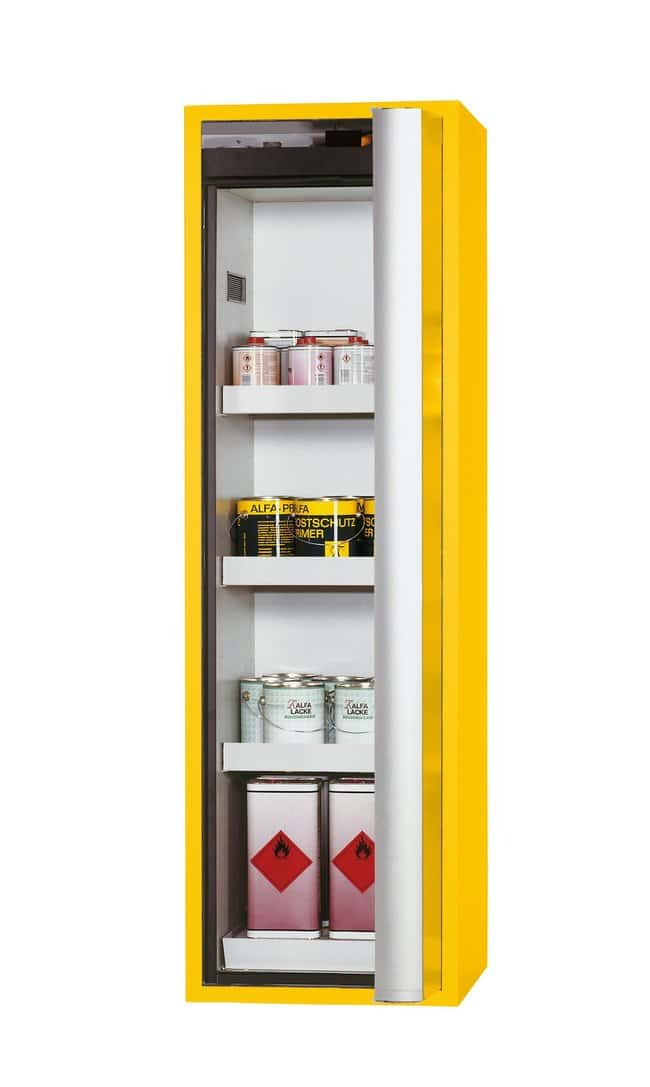 asecos™ tipo 90 armario de seguridad S-PHOENIX-90 Depth: 616.00 mm; 3 x tray shelf, 1 x perforated insert, 1 x bottom collecting sump, Yellow asecos™ tipo 90 armario de seguridad S-PHOENIX-90