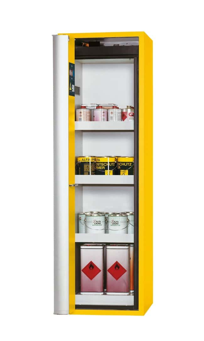 asecos™ Type 90 Safety Storage Cabinet S-PHOENIX Vol.2-90 Left-Hinged Depth: 616.00 mm; 3 x tray shelf, 1 x perforated insert (320 mm), 1 x bottom collecting sump (sheet steel powder-coated), Yellow asecos™ Type 90 Safety Storage Cabinet S-PHOENIX Vol.2-90 Left-Hinged