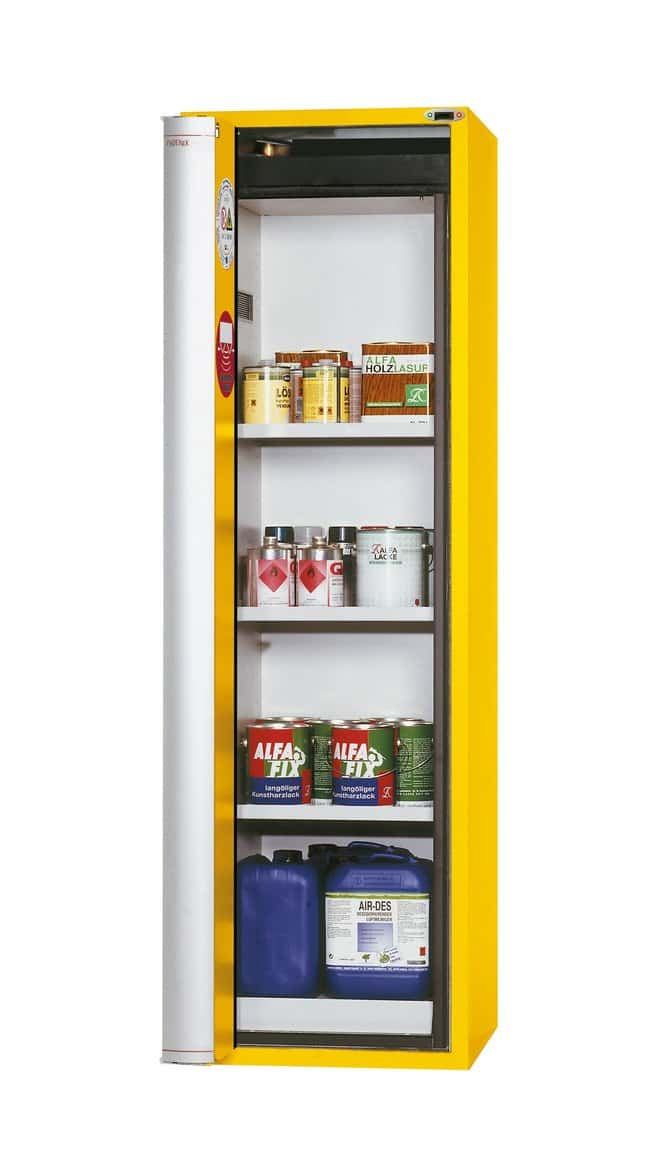 asecos™Type 90 Safety Storage Cabinet S-PHOENIX Touchless-90 Warning Yellow Width: 596.00 mm; 3xshelf, 1xperforated insert (335 mm), 1xbottom collecting sump (sheet steel powder-coated) asecos™Type 90 Safety Storage Cabinet S-PHOENIX Touchless-90 Warning Yellow