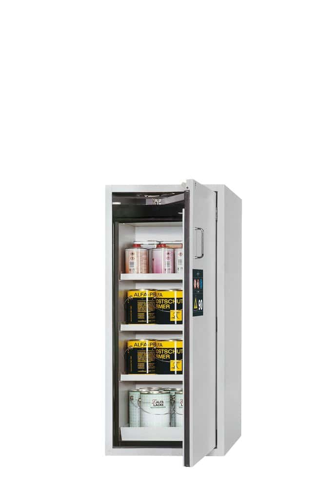 asecos™Type 90 Safety Storage Cabinet S-CLASSIC-90 Right-Hinged Height: 1298.00 mm; 3xshelf, 1xperforated insert, 1xbottom collecting sump (sheet steel powder-coated), Light Gray asecos™Type 90 Safety Storage Cabinet S-CLASSIC-90 Right-Hinged