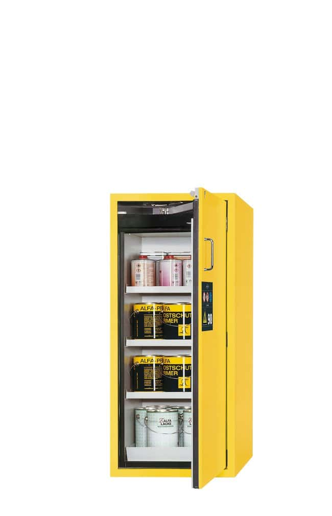 asecos™Type 90 Safety Storage Cabinet S-CLASSIC-90 Right-Hinged Height: 1298.00 mm; 3xshelf, 1xperforated insert, 1xbottom collecting sump (sheet steel powder-coated), Yellow asecos™Type 90 Safety Storage Cabinet S-CLASSIC-90 Right-Hinged