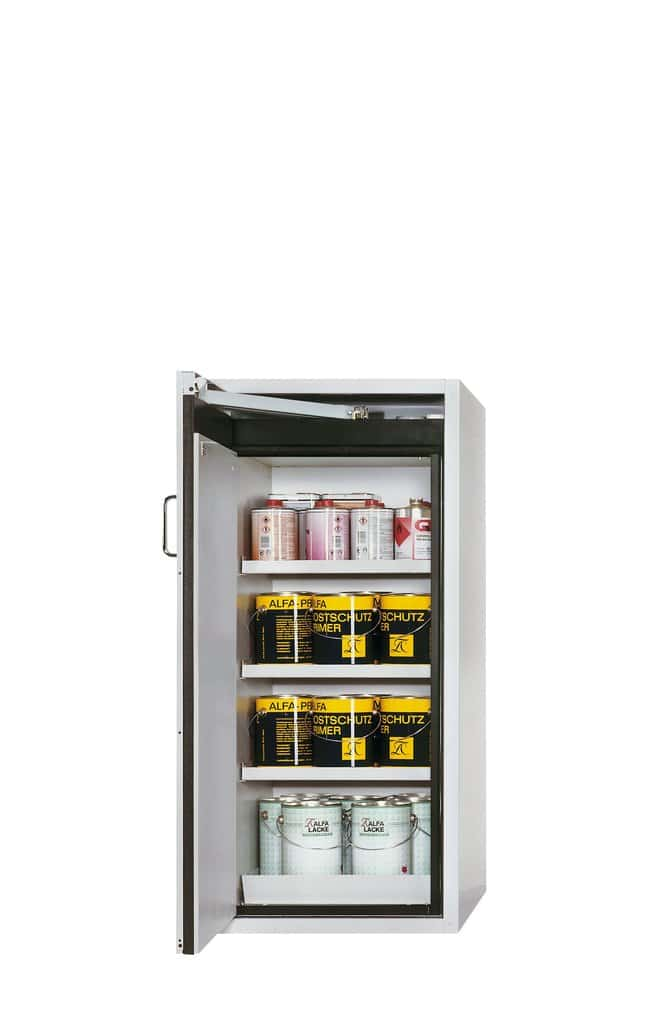 asecos™tipo 90 armario de seguridad S-PEGASUS-90 Light Gray, 3xshelf, 1xperforated insert (185 mm), 1xbottom collecting sump (sheet steel powder-coated), Left-hinged asecos™tipo 90 armario de seguridad S-PEGASUS-90