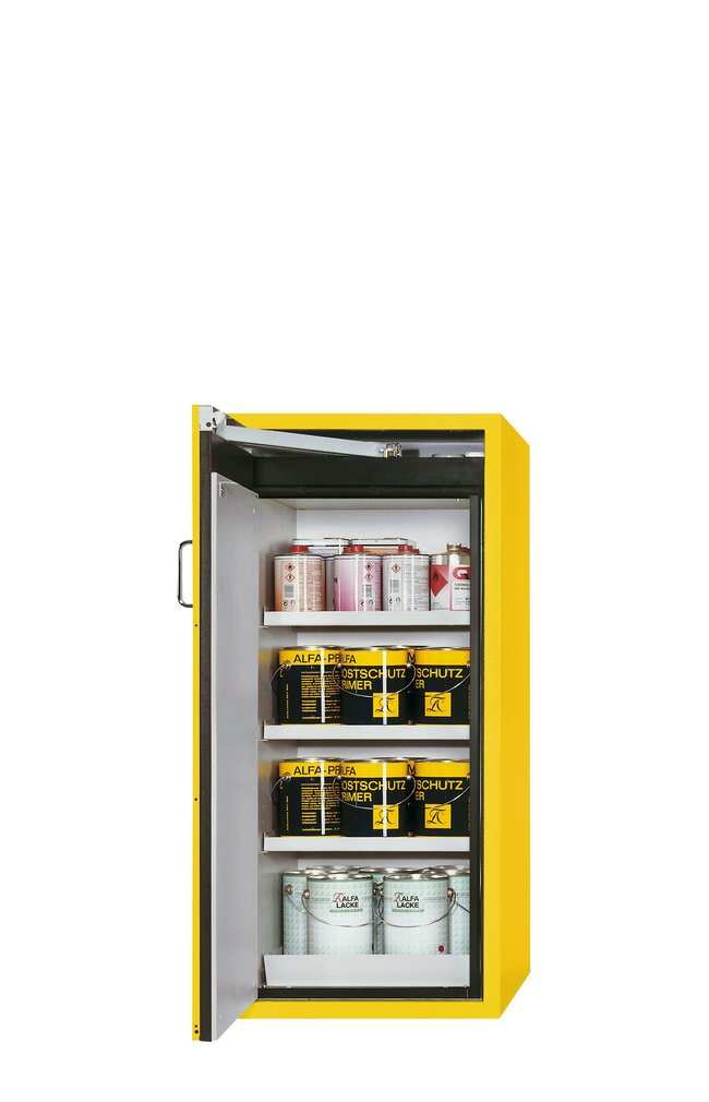 asecos™Type 90 Safety Storage Cabinet S-PEGASUS-90 Auto Closing Yellow, 3xshelf, 1xperforated insert (185 mm), 1xbottom collecting sump (sheet steel powder-coated), Left-hinged asecos™Type 90 Safety Storage Cabinet S-PEGASUS-90 Auto Closing