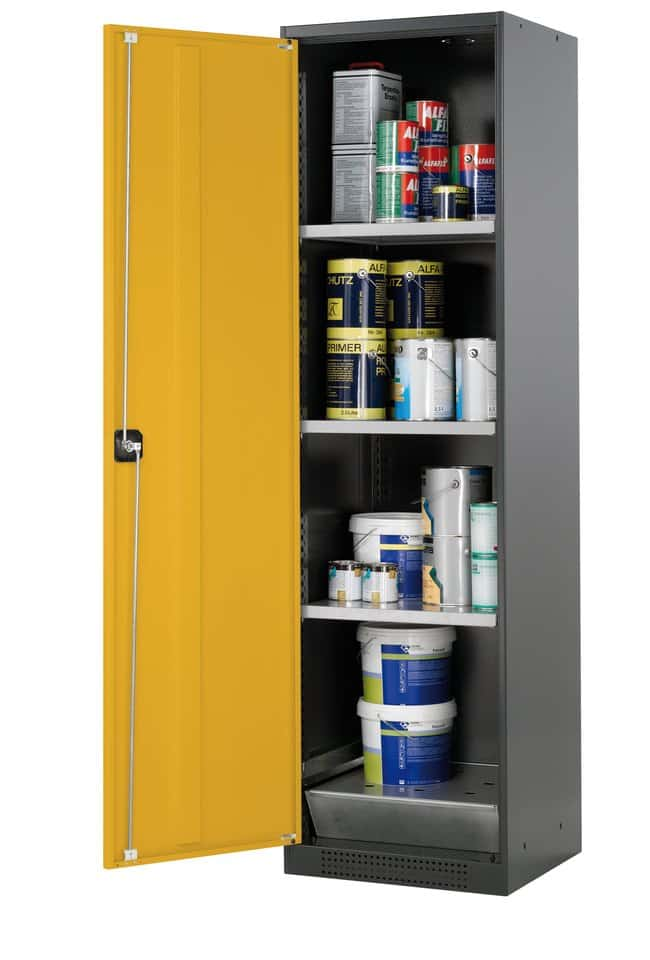 asecos™armario para productos químicos CS-CLASSIC 3xshelf, 1xperforated insert, 1xbottom collecting sump (sheet steel galvanised), Yellow asecos™armario para productos químicos CS-CLASSIC