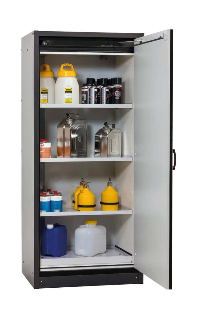 asecos™ Type 30 Safety Storage Cabinet Q-CLASSIC-30 Right-Hinged Width: 864.00 mm; 3 x shelf, 1 x perforated insert (380 mm), 1 x bottom collecting sump (sheet steel powder-coated), Gray asecos™ Type 30 Safety Storage Cabinet Q-CLASSIC-30 Right-Hinged