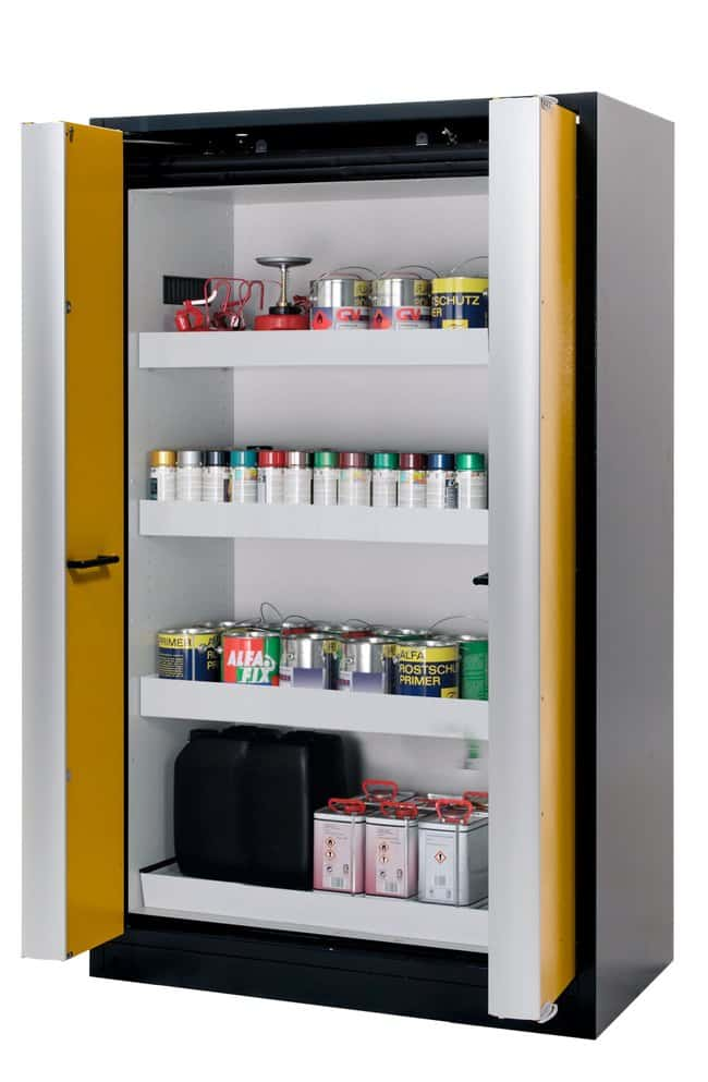 asecos™Q-PHOENIX-90 Yellow Safety Storage Cabinets 3xtray shelf, 1xperforated insert (365 mm), 1xbottom collecting sump (sheet steel powder-coated) asecos™Q-PHOENIX-90 Yellow Safety Storage Cabinets