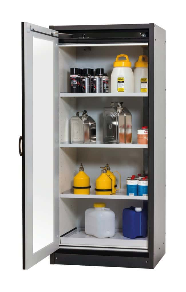asecos™Type 30 Safety Storage Cabinet Q-DISPLAY-30 Includes: 3xshelf, 1xperforated insert, 1x345 mm bottom collecting sump (sheet steel powder-coated), Color: Gray, Yellow asecos™Type 30 Safety Storage Cabinet Q-DISPLAY-30