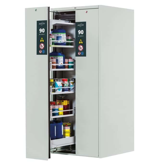 asecos™Type 90 Safety Storage Cabinet V-MOVE-90 Light Gray No. of Doors: 2, Includes: 4xshelf, 1xperforated insert, 1xbottom collecting sump (sheet steel powder-coated), on each side asecos™Type 90 Safety Storage Cabinet V-MOVE-90 Light Gray