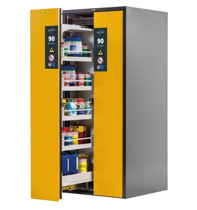 asecos™Armoire de stockage de sécurité de type90 V-MOVE-90 gris anthracite Nombre de portes: 2, comprend: 4xétagère de plateau, 1xbac collecteur inférieur (tôle d'acier revêtue de poudre), de chaque côté, portes d'avertissement à tiroirs verticaux jaunes asecos™Armoire de stockage de sécurité de type90 V-MOVE-90 gris anthracite