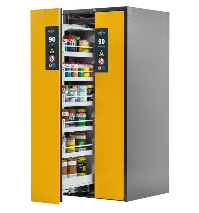 asecos™Armoire de stockage de sécurité de type90 V-MOVE-90 gris anthracite Nombre de portes: 2, comprend: 5xétagère de plateau, 1xbac collecteur inférieur (tôle d'acier revêtue de poudre), de chaque côté, portes d'avertissement à tiroirs verticaux jaunes asecos™Armoire de stockage de sécurité de type90 V-MOVE-90 gris anthracite