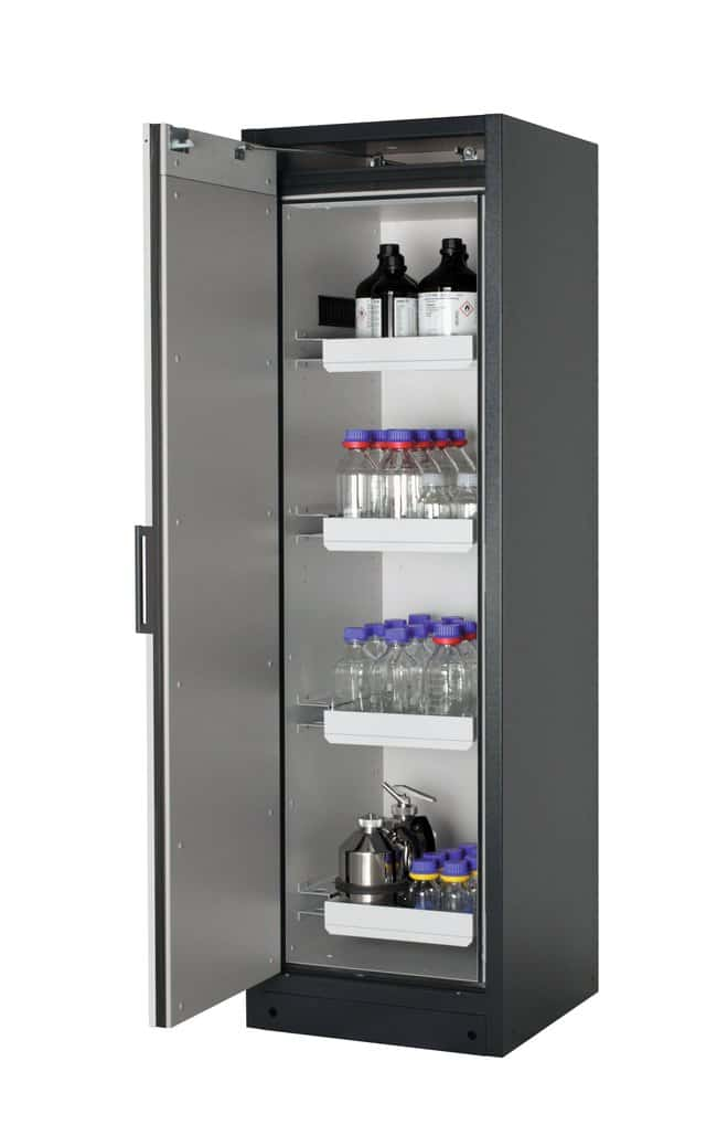 asecos™ Type 90 Safety Storage Cabinet Q-PEGASUS-90 Single Door Includes: 4 x 5 litre drawer (sheet steel powder-coated), Door Style: Swing, Left-hinged, Description: Light gray doors asecos™ Type 90 Safety Storage Cabinet Q-PEGASUS-90 Single Door
