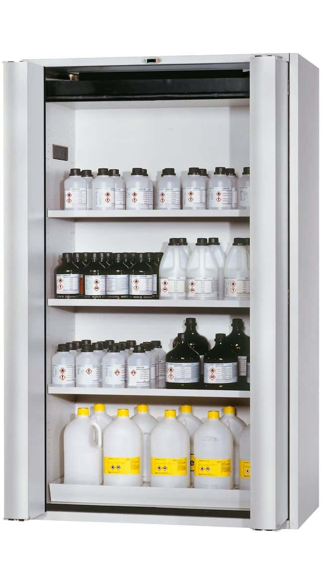 asecos™ Type 90 Safety Storage Cabinet S-PHOENIX Touchless-90 Light Gray Width: 1196.00 mm; 3 x shelf, 1 x perforated insert (375 mm), 1 x bottom collecting sump (sheet steel powder-coated) asecos™ Type 90 Safety Storage Cabinet S-PHOENIX Touchless-90 Light Gray