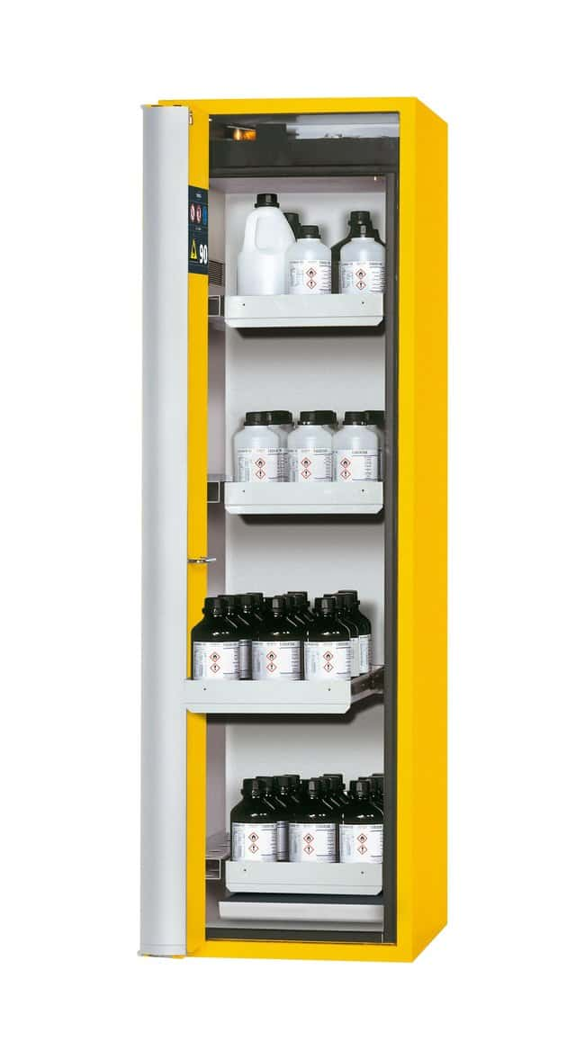 asecos™Type 90 Safety Storage Cabinet S-PHOENIX Vol.2-90 Left-Hinged Depth: 616.00 mm; 4xdrawer, 1xbottom collecting sump (sheet steel powder-coated), Yellow asecos™Type 90 Safety Storage Cabinet S-PHOENIX Vol.2-90 Left-Hinged