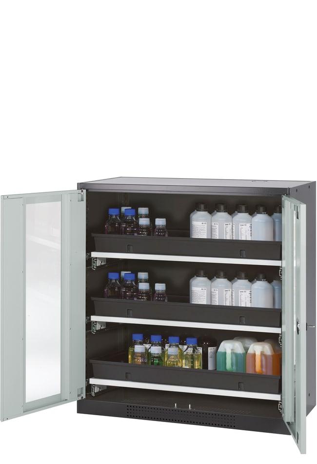 asecos™CS-CLASSIC-G Chemikalienschrank mit 2 hellgrauen Türen 3x 66-Liter-Auszugswanne (pulverbeschichtetes Stahlblech/PP), Höhe: 1105,00 mm asecos™CS-CLASSIC-G Chemikalienschrank mit 2 hellgrauen Türen