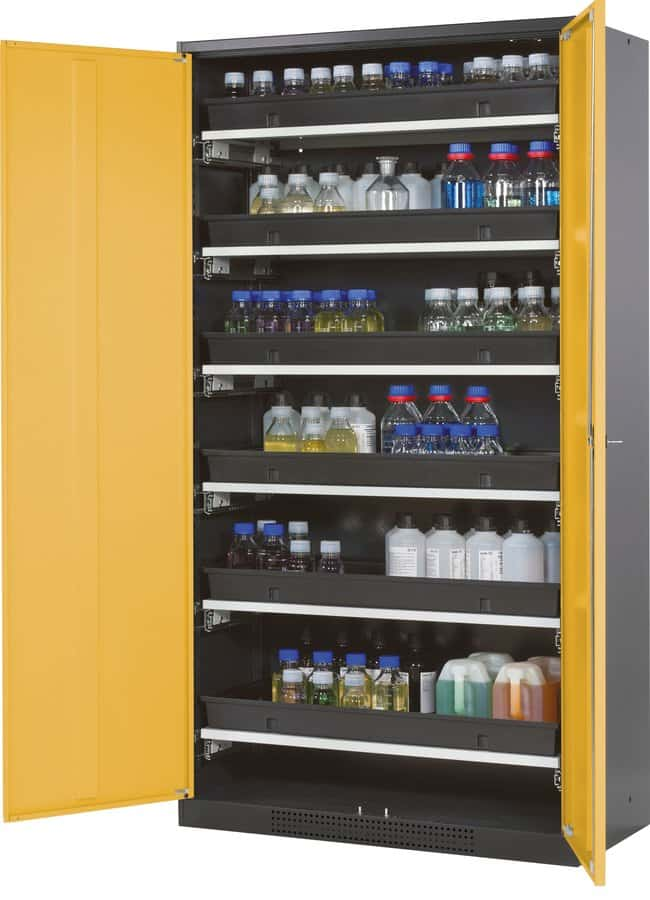 asecos™ Cabinet for Chemicals CS-CLASSIC Width: 1055 mm, Includes: 6 x pull-out shelf (sheet steel powder-coated/PP), Color: Gray, Yellow asecos™ Cabinet for Chemicals CS-CLASSIC