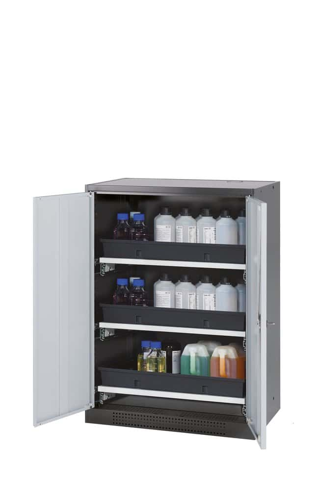 asecos™Cabinet for Chemicals CS-CLASSIC Width: 810 mm, Includes: 3xpull-out shelf (sheet steel powder-coated/PP), Color: Gray asecos™Cabinet for Chemicals CS-CLASSIC