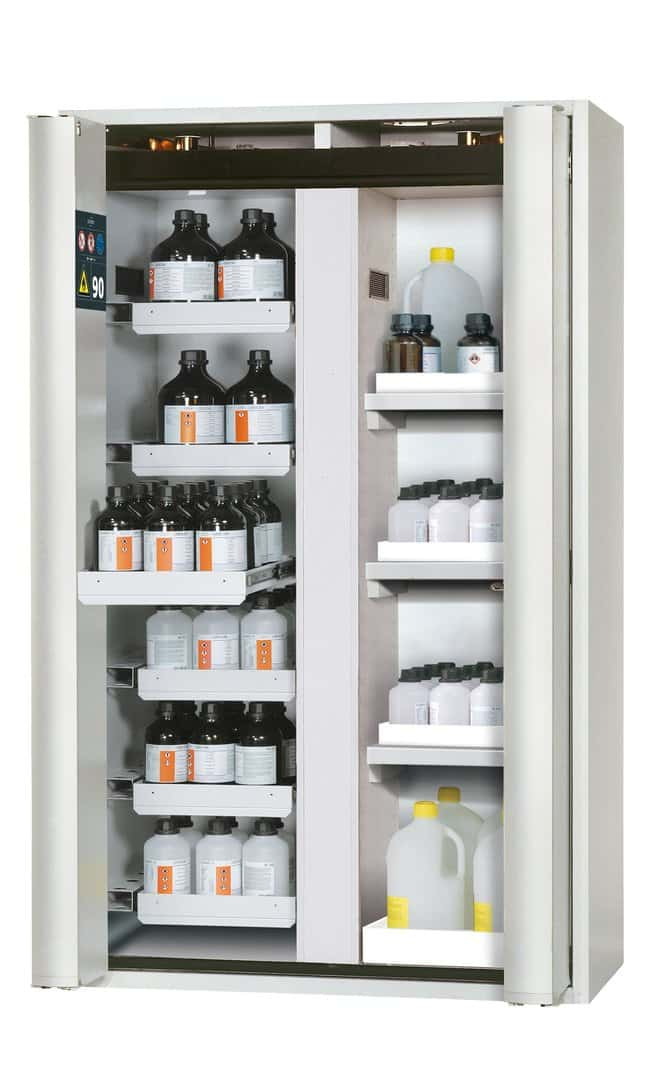 asecos™Type 90 Safety Storage Cabinet S-PHOENIX-90 with 2 Doors 6xdrawer, 3xtray shelf, 1xbottom collecting sump (PP), Vertical dividing wall, Color: Light Gray asecos™Type 90 Safety Storage Cabinet S-PHOENIX-90 with 2 Doors