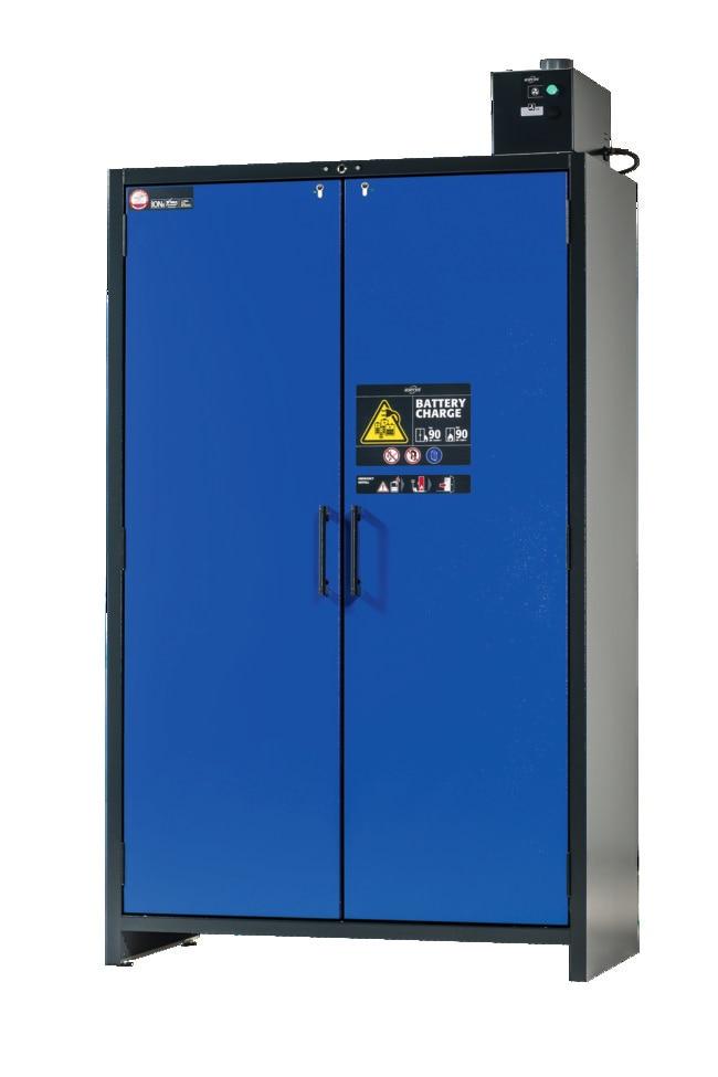 Asecos™BATTERY CHARGE armoire de charge ION-CLASSIC-90 Description: Version CH, nombre d'étagères: 5 Asecos™BATTERY CHARGE armoire de charge ION-CLASSIC-90