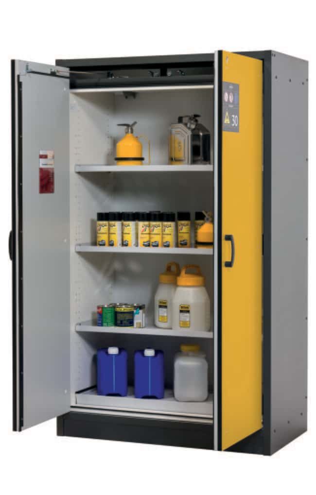 asecos™ Type 30 Safety Storage Cabinet Q-CLASSIC-30 with 2 Doors 3 x shelf, 1 x perforated insert (380 mm), 1 x bottom collecting sump (sheet steel powder-coated), Color: Gray, Yellow asecos™ Type 30 Safety Storage Cabinet Q-CLASSIC-30 with 2 Doors