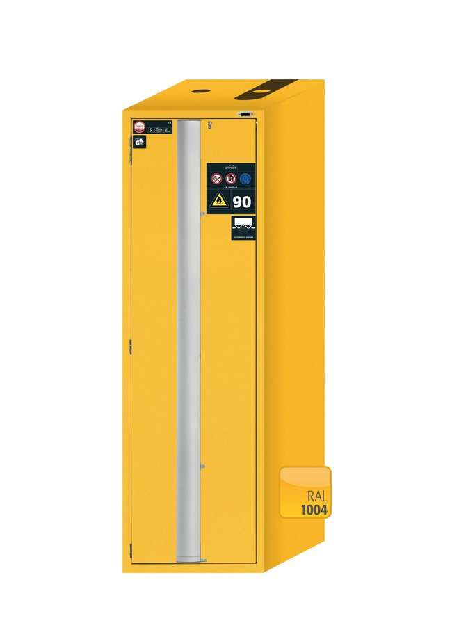 asecos™Type 90 Safety Storage Cabinet S-PHOENIX Touchless-90 Warning Yellow Width: 596.00 mm; Depth: 749.00 mm; 6xdrawer, 1xbottom collecting sump (sheet steel powder-coated) asecos™Type 90 Safety Storage Cabinet S-PHOENIX Touchless-90 Warning Yellow