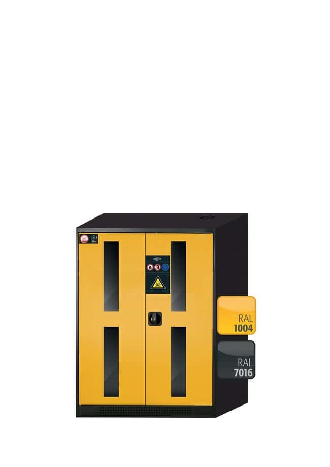 asecos™Cabinet for Chemicals CS-CLASSIC-G with 2 Warning Yellow Doors Height: 1105.00 mm; Width: 810.00 mm; 2xshelf (sheet steel galvanised), 1xperforated insert, 1xbottom collecting sump (sheet steel galvanised) asecos™Cabinet for Chemicals CS-CLASSIC-G with 2 Warning Yellow Doors