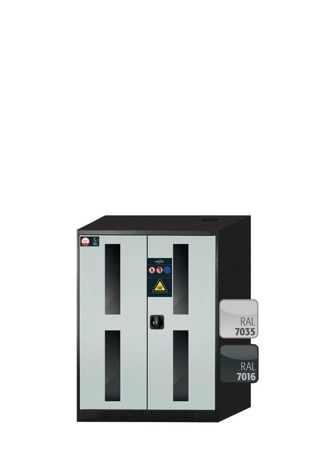 asecos™CS-CLASSIC-G Chemikalienschrank mit 2 hellgrauen Türen 2Wannenböden (60kg Kapazität, verzinktes Stahlblech), 1Lochblecheinsatz, 1Bodenauffangwanne (verzinktes Stahlblech), Höhe: 1105,00 mm asecos™CS-CLASSIC-G Chemikalienschrank mit 2 hellgrauen Türen