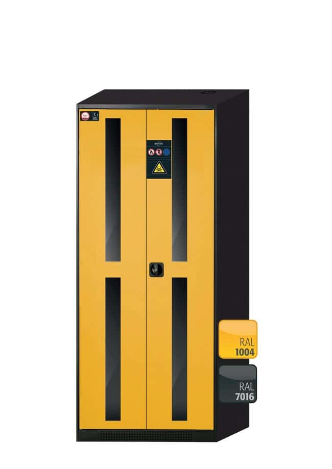 asecos™Cabinet for Chemicals CS-CLASSIC-G with 2 Warning Yellow Doors Height: 1950.00 mm; Width: 810.00 mm; 4xpull-out shelf (sheet steel powder-coated/PP) asecos™Cabinet for Chemicals CS-CLASSIC-G with 2 Warning Yellow Doors