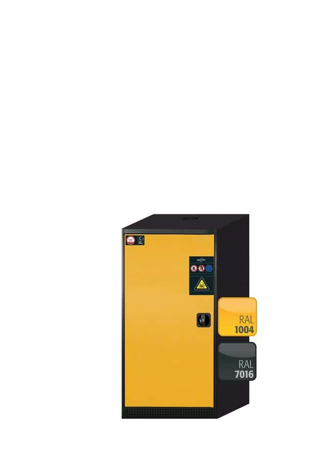 asecos™Cabinet for Chemicals CS-CLASSIC Left-hinged 3xpull-out shelf (sheet steel powder-coated/PP), Yellow asecos™Cabinet for Chemicals CS-CLASSIC Left-hinged
