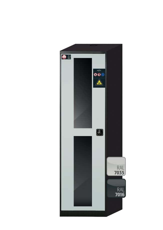 asecos™CS-CLASSIC-G Chemikalienschrank mit 1hellgrauer Tür Höhe: 1950,00 mm; Scharniere links; 6Auszugswannen (pulverbeschichtetes Stahlblech/PP) asecos™CS-CLASSIC-G Chemikalienschrank mit 1hellgrauer Tür