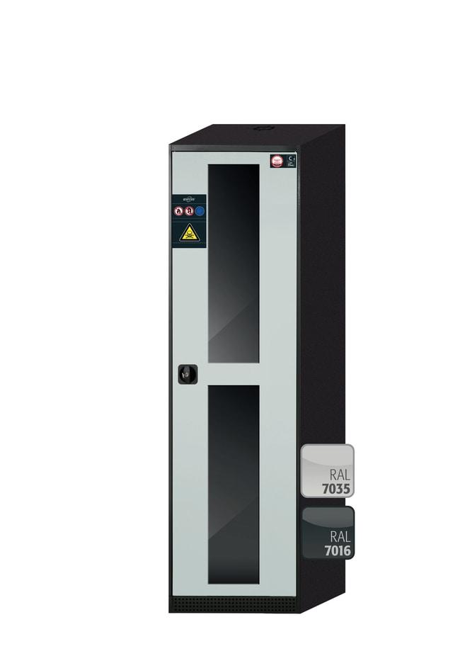 asecos™CS-CLASSIC-G Chemikalienschrank mit 1hellgrauer Tür Höhe: 1.950,00mm; Scharniere rechts; 4Auszugswannen (pulverbeschichtetes Stahlblech/PP) asecos™CS-CLASSIC-G Chemikalienschrank mit 1hellgrauer Tür