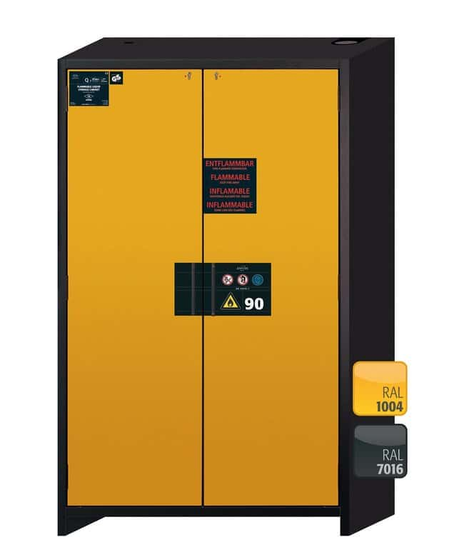 Asecos™Q-CLASSIC-90 Two-Door Yellow Safety Storage Cabinets 3x 75 kg shelves; 1x 75 kg insert; 1x 33 L sump Asecos™Q-CLASSIC-90 Two-Door Yellow Safety Storage Cabinets