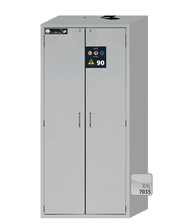 Asecos™S-CLASSIC-90 2-Door Light Gray Safety Storage Cabinets with Door Open Arrest System 3x 75 kg shelves; 1x 75 kg insert; 1x 22 L sump Asecos™S-CLASSIC-90 2-Door Light Gray Safety Storage Cabinets with Door Open Arrest System